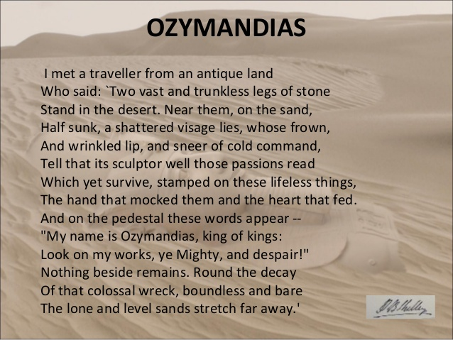 a description of ozymandias as one of the best sonnets that shelley wrote Ozymandias is the fourteenth episode of the fifth season of the american television drama series breaking bad, and the 60th overall episode of the series.