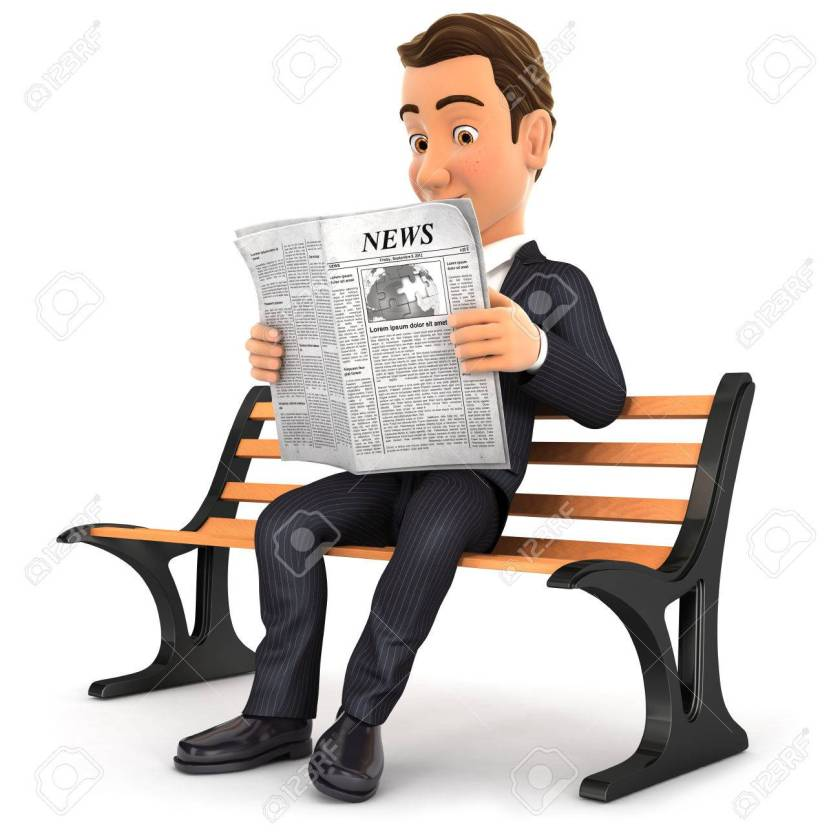 3d businessman reading newspaper on public bench