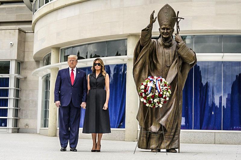 President Donald Trump and First lady Melania Trump visit Saint John Paul II National Shrine